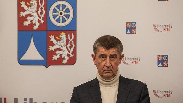 Výjezdní zasedání vlády ČR v Libereckém kraji proběhlo 13. března. Na snímku je premiér v demisi Andrej Babiš (ANO) při tiskové konferenci v Jablonci nad Nisou.
