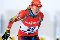 Česká biatlonistka Gabriela Soukalová na závodech v rodném Jablonci nad Nisou.