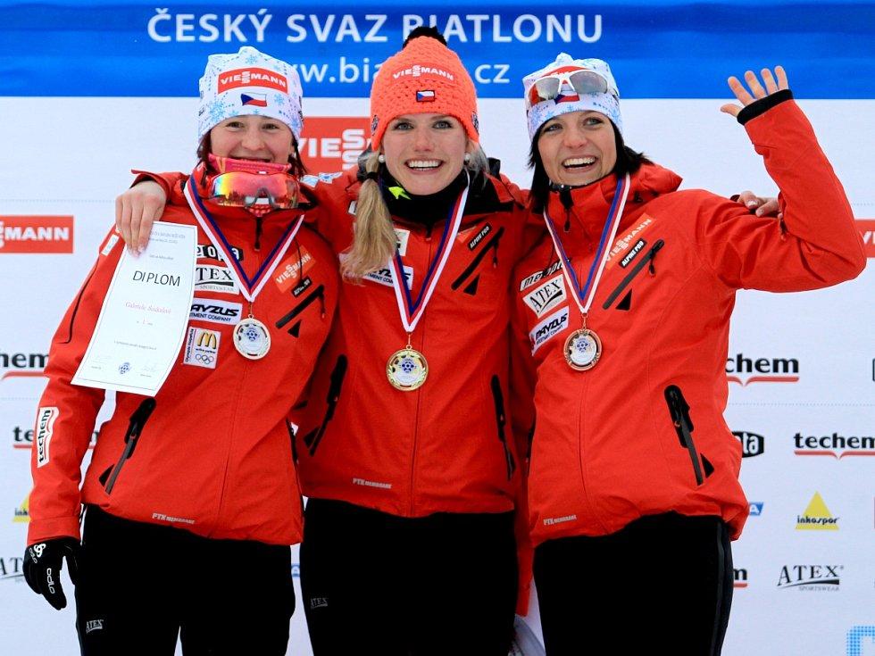 Mistrovství ČR v biatlonu mužů a žen. Mezi ženami zvítězila Gabriela Soukalová.