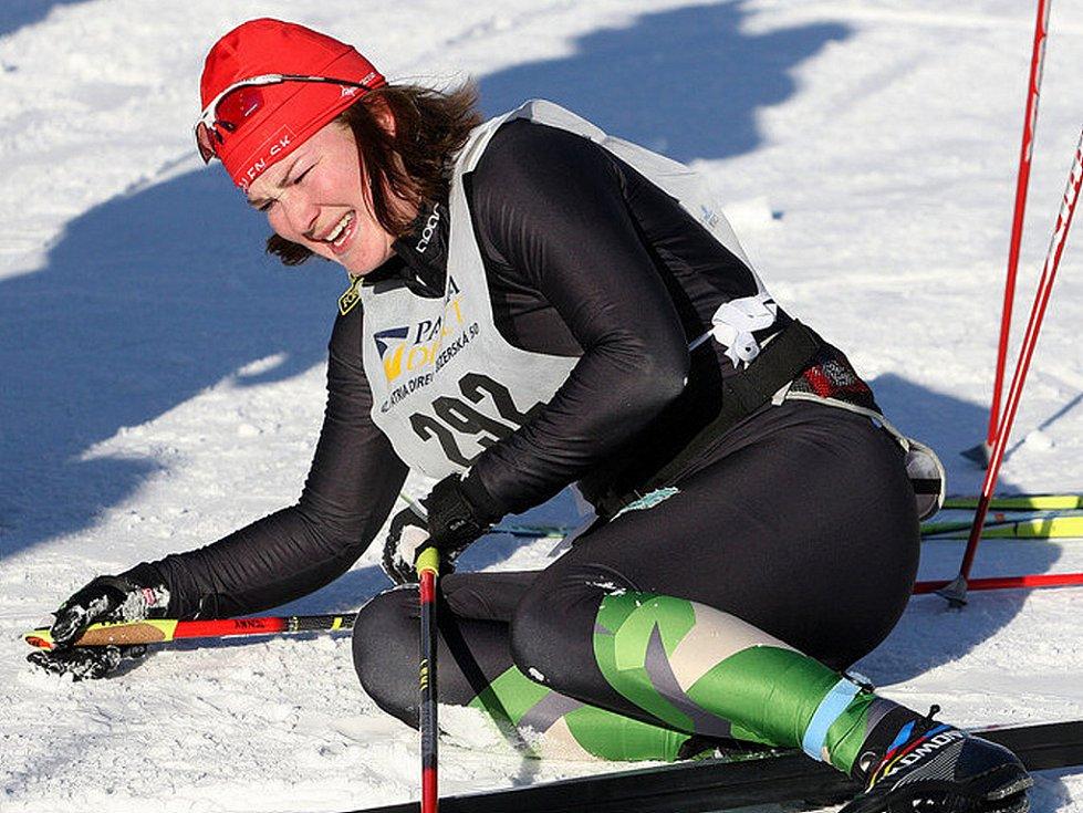 V neděli v devět hodin ráno odstartoval Václav Klaus 42. ročník Jizerské padesátky. Na startu se sešlo přes čtyři tisíce lyžařů, kteří vyrazili za ideálních podmínek do stopy. Na snímku první žena na padesátikilometrové trati Švédka Jenny Hanssonová.