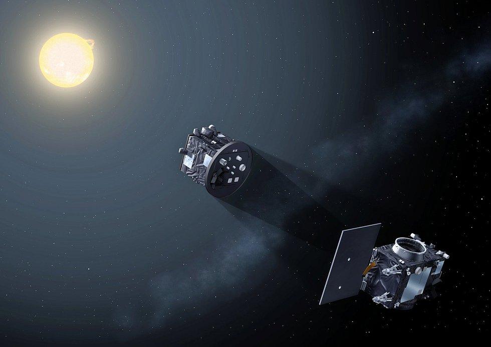 Satelity Proba-3 vytvářejí umělé zatmění pro družici Solar Orbiter.
