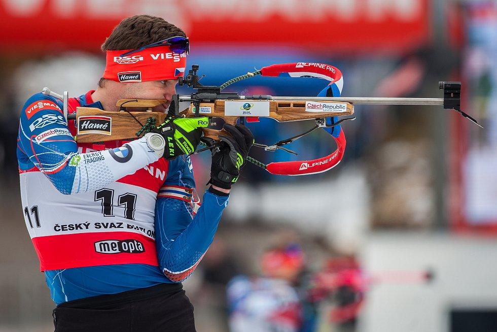 Exhibiční Mistrovství České republiky v biatlonovém supersprintu proběhlo 23. března ve sportovním areálu Břízky v Jablonci nad Nisou. Na snímku je biatlonista Tomáš Vojík.