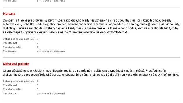 Diskuse na webu http://www.mestojablonec.cz/