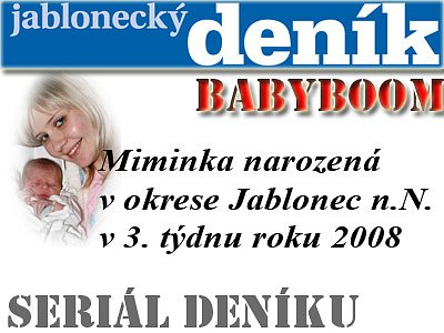 Miminka okresu Jablonec nad Nisou narozená ve třetím týdnu roku 2008