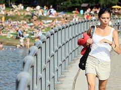 Jablonecká přehrada v létě