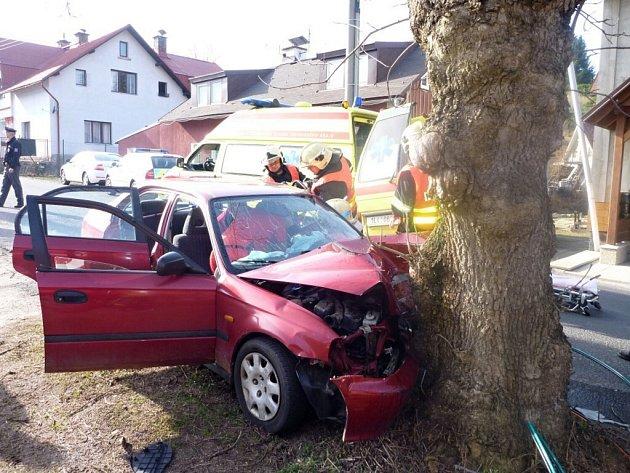Smržovka v pátek odpoledne. Přes veškeré úsilí záchranářů lékař konstatoval smrt řidiče. Narazil do stromu.
