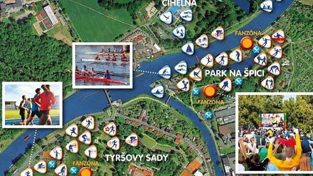 Mapa olympijského areálu v Pardubicích