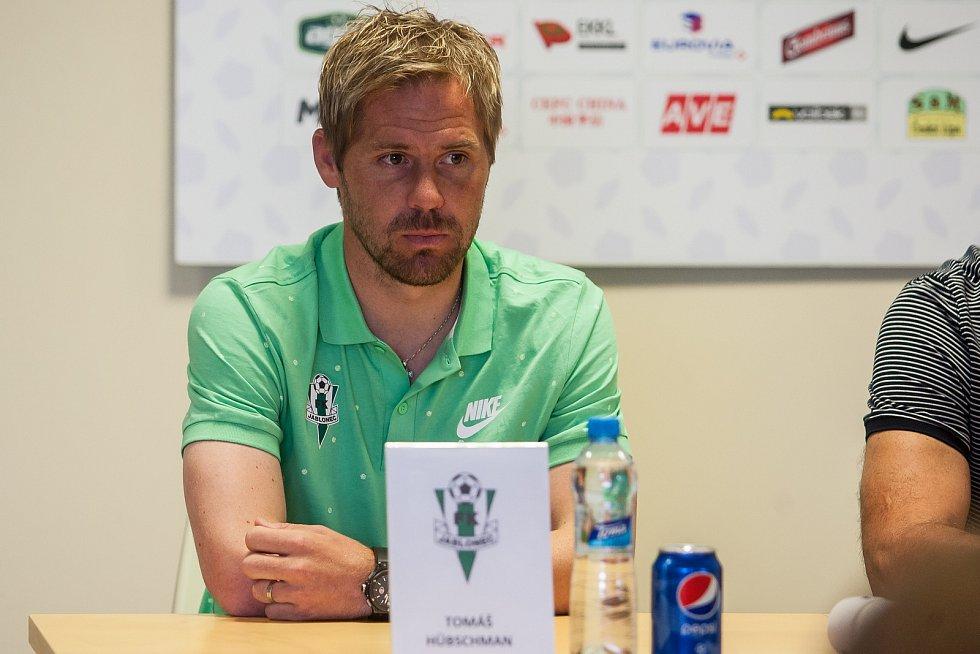 Tisková konference klubu FK Jablonec před startem nové sezony proběhla 25. července v Jablonci nad Nisou. Na snímku kapitán mužstva Tomáš Hübschman.