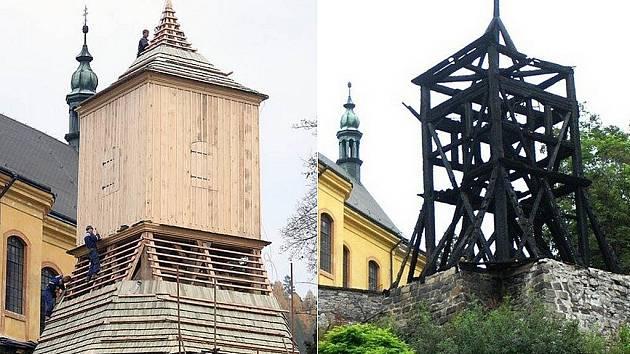 Železnobrodská zvonice. Pohled v listopadu 2008 a v červnu 2007.