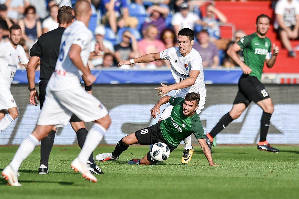Utkání 1. kola první fotbalové ligy: Baník Ostrava - FK Jablonec, 23. července 2018 v Ostravě. Robert Hrubý a Trávník Michal.