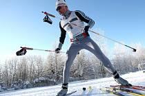 Na snímku při skiatlonu v Břízkách profesionální hasič z Liberce Václav Karpíšek.