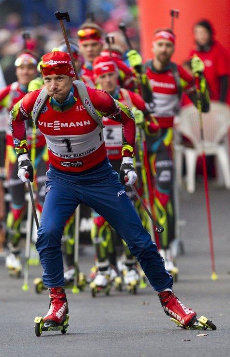Biatlonová exhibice přilákala přes dva tisíce lidí. Na snímku je Ondřej Moravec.