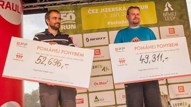 Symbolické šeky převzali zleva za Maják David Just, za DRAK Ladislav Kořínek.
