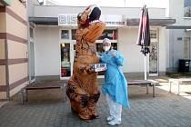 Dinosaurus předal zaměstnancům jablonecké nemocnice energetické drinky.
