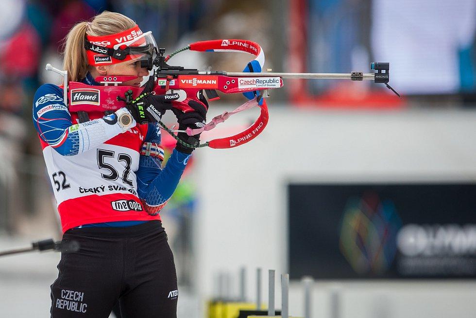 Exhibiční Mistrovství České republiky v biatlonovém supersprintu proběhlo 23. března ve sportovním areálu Břízky v Jablonci nad Nisou. Na snímku je biatlonistka Eva Puskarčíková.