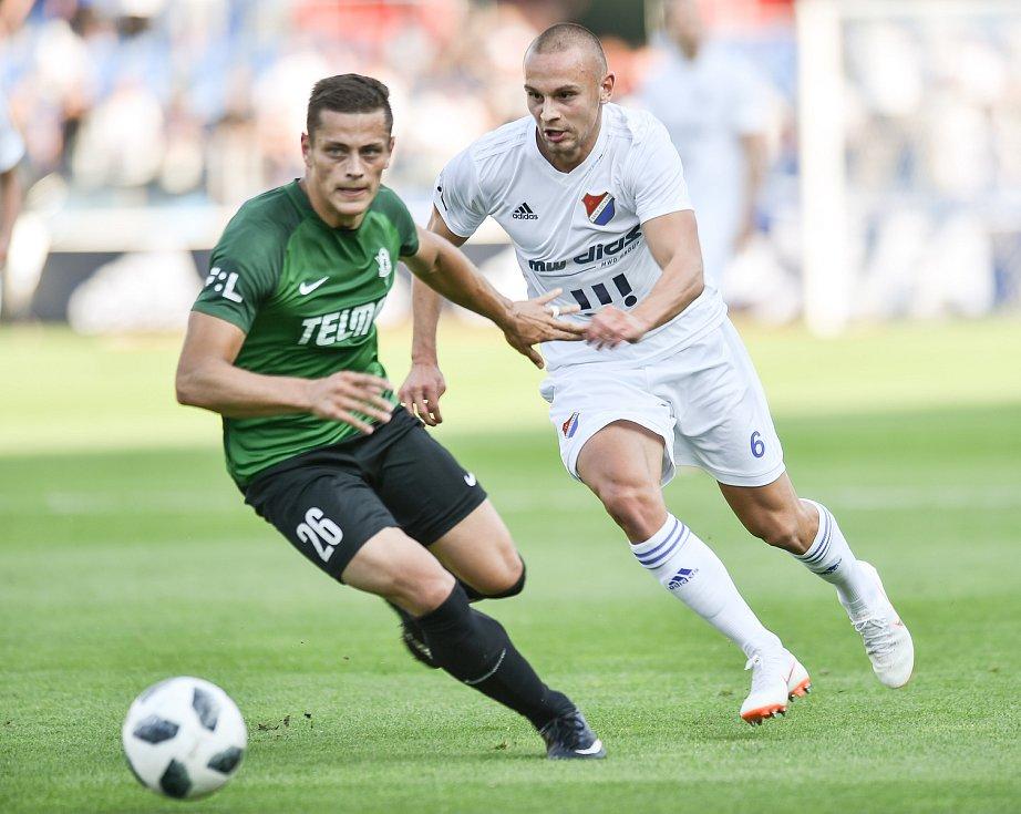 Utkání 1. kola první fotbalové ligy: Baník Ostrava - FK Jablonec, 23. července 2018 v Ostravě. (vlevo) Holeš Tomáš a Denis Granečný.