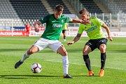 Zápas 4. kola první fotbalové ligy mezi týmy FK Jablonec a MFK Karviná se odehrál 11. srpna na stadionu Střelnice v Jablonci nad Nisou. Na snímku vlevo je Lukáš Masopust.