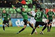 Utkání 14. kola HET ligy mezi MFK Karviná vs. FK Jablonec hrané 19. listopadu 2017 v Karviné. Hanousek Matěj a Jan Kalabiška.