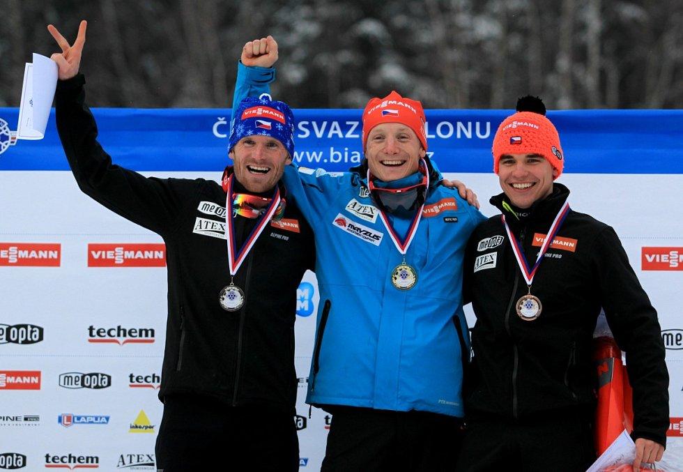 Mistrovství ČR v biatlonu mužů a žen. Mezi muži triumfoval Ondřej Moravec.