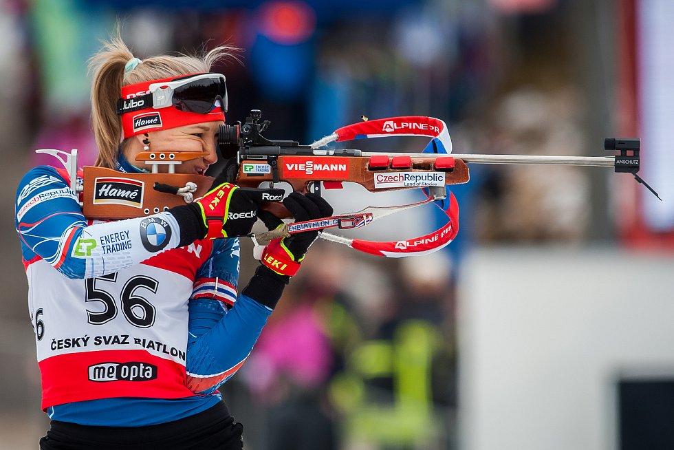 Exhibiční Mistrovství České republiky v biatlonovém supersprintu proběhlo 23. března ve sportovním areálu Břízky v Jablonci nad Nisou. Na snímku je biatlonistka Veronika Zvařičová.