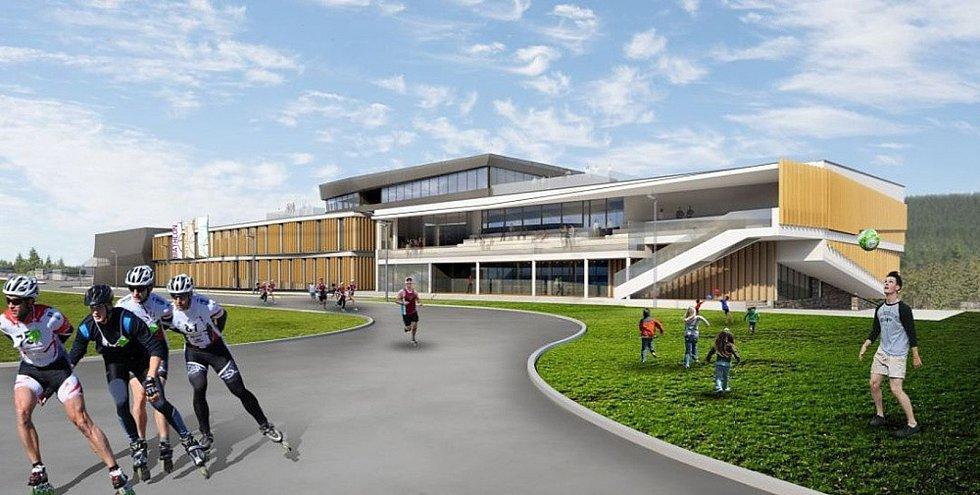 Vizualizace Dolnosaského Centra Sportu v Jakuszycích. Na podzim letošního roku má být hotovo. Centrum leží jen pár kilometrů od Harrachova.