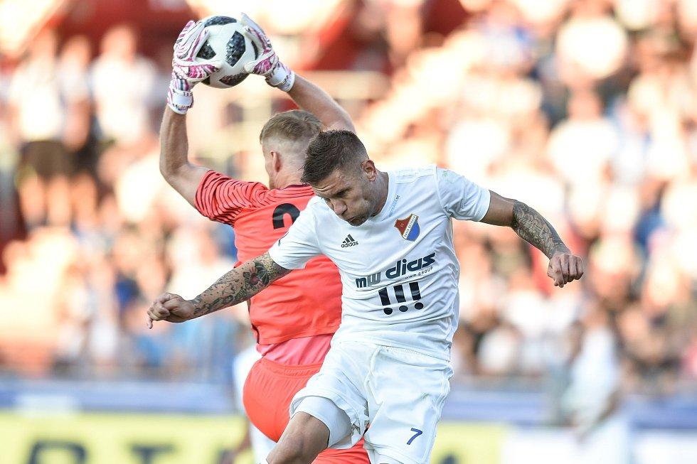 Utkání 1. kola první fotbalové ligy: Baník Ostrava - FK Jablonec, 23. července 2018 v Ostravě. Hrubý Vlastimil a Martin Fillo.