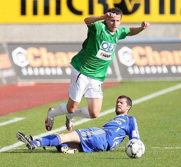 V utkání 27. kola 1. GL hostil o záchranu bojující FK Jablonec 97 Sigmu Olomouc. Na snímku jablonecký Igor Žofčák.