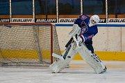 Zápas 40. kola 2. ligy ledního hokeje skupiny Západ se odehrálo 14. února na zimním stadionu v Jablonci nad Nisou. Utkaly se týmy HC Vlci Jablonec nad Nisou a HC Děčín. Na snímku je brankář Jan Dlouhý.