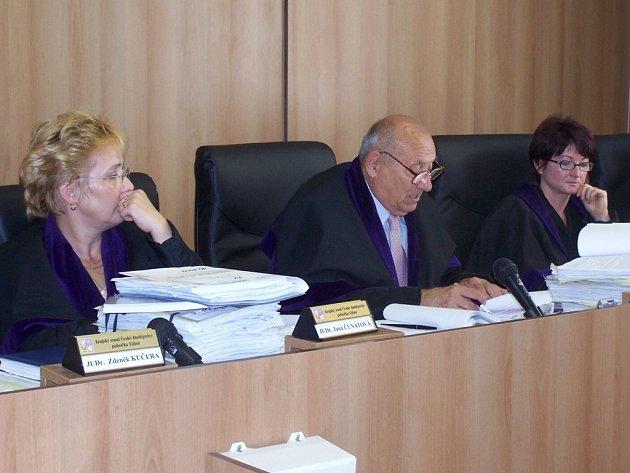 U soudu rozhoduje senát (předseda a dva přísedící soudci)  nebo samosoudce