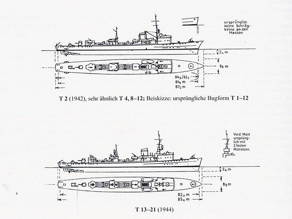 Výprava na Balt - hledání vraku z 2. světové války. Výkres nalezené lodi.