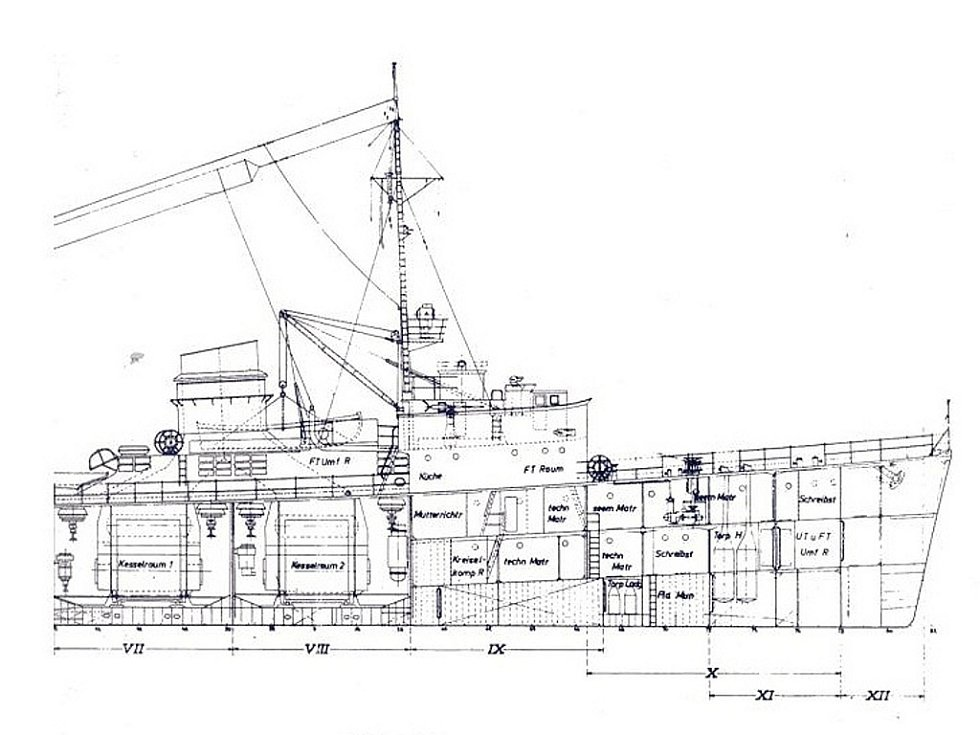 Výprava na Balt - hledání vraku z 2. světové války. Příď nalezené lodi.