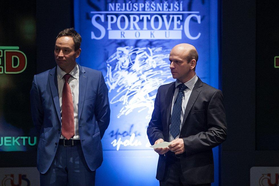 Slavnostní vyhlášení ankety Nejúspěšnější sportovec Jablonecka za rok 2017 proběhlo 29. ledna v Městském divadle v Jablonci nad Nisou. Na snímku vpravo je trenér Jiří Sucharda.