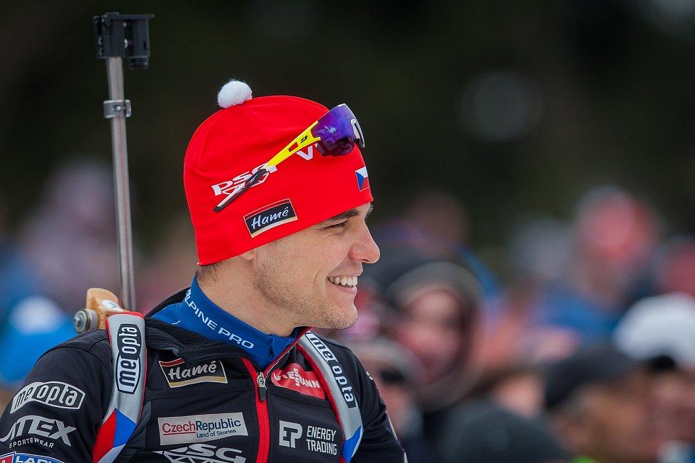 Exhibiční Mistrovství České republiky v biatlonovém supersprintu proběhlo 23. března ve sportovním areálu Břízky v Jablonci nad Nisou. Na snímku je biatlonista Michal Krčmář.