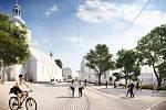 Pohled přes park na Anenské náměstí dle vítězného návrhu. Pohled zabírá i kostel sv. Anny.