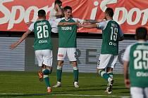 Dominik Pleštil slaví gól proti Karviné.