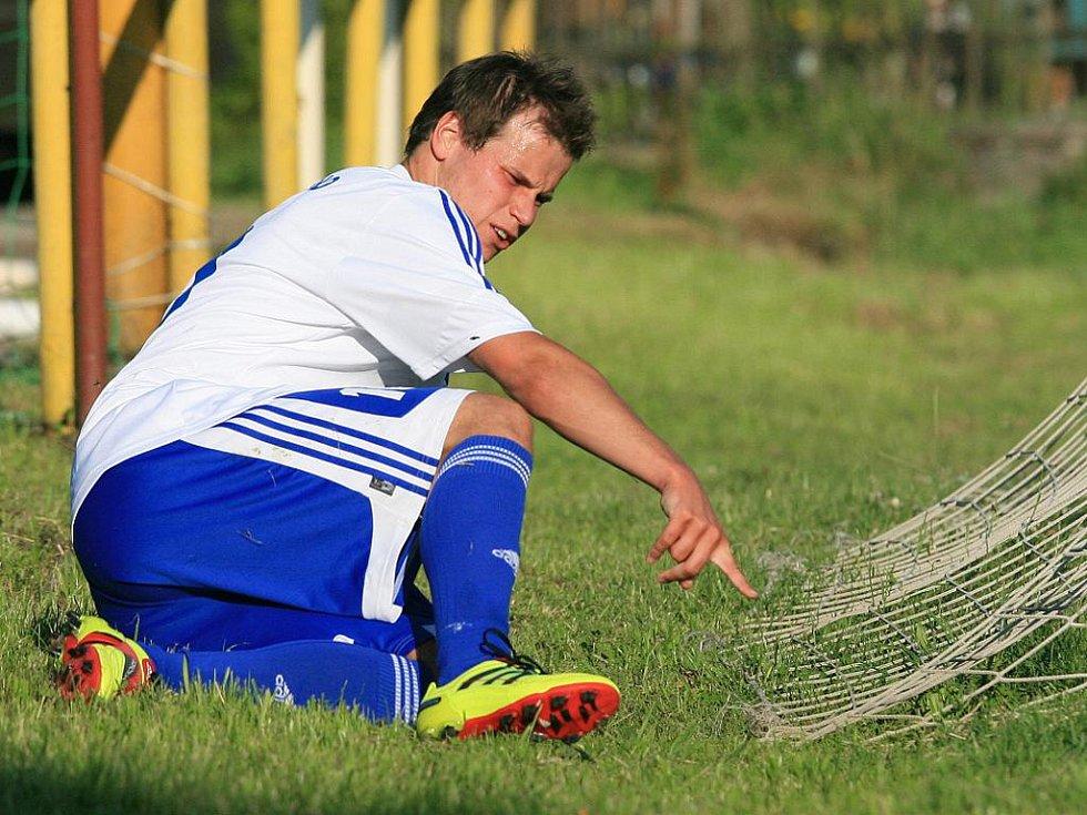 kamil Krejčík, útočník Jiskry Mšeno na zápase ve Višňové.