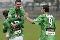 Juniorka Jablonce porazila České Budějovice 5:2. Na snímku radost hráčů Jablonce.