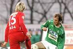 Na snímku souboj o míč dvou střídajících hráčů domácího Filipa Klapky (v zeleném) a Marka Střeštíka (č. 15)