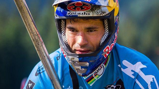 Finále závodu světové série horských kol ve fourcrossu, JBC 4X Revelations, proběhlo 15. července v bikeparku v Jablonci nad Nisou. Na snímku je Tomáš Slavík.