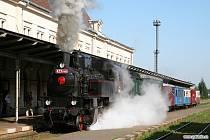 Parní vlak při Tanvaldských slavnostech.