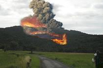 Výbuch sopky Kozákov.