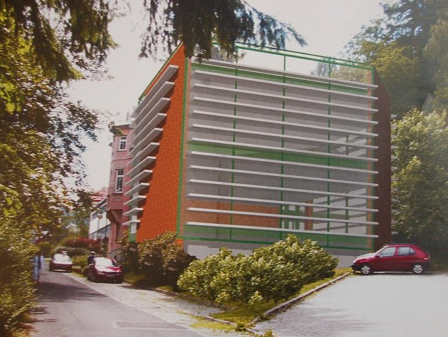 Takto vypadá návrh jak by měla vypadat budova VOŠ, která by byla připojena k již stojící budově Obchodní Akademie v Tanvaldu.