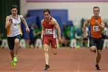 Atletický mítink Jablonecká hala 2018 proběhl 20. ledna v Jablonci nad Nisou. Na snímku zprava David Kolář a Diogo Antunes při disciplině 60 M muži.