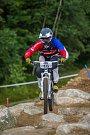 Kvalifikace závodu světové série horských kol ve fourcrossu, JBC 4X Revelations, proběhla 14. července v bikeparku v Jablonci nad Nisou. Finále se koná 15. července. Na snímku je Romana Labounková.