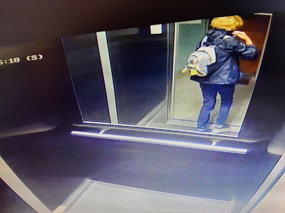 Pohřešovaná žena na snímku ze dne, kdy byla viděna naposledy