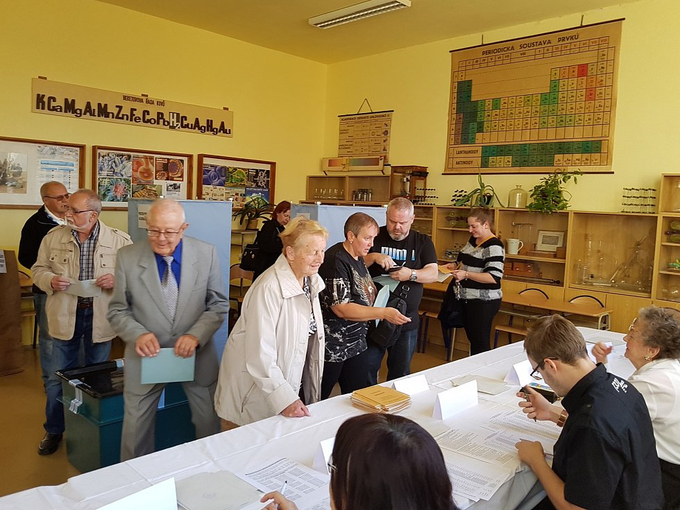 Volby v Gymnáziu U Balvanu v Jablonci. Konkrétně volební okrsek č. 16. První voliči.