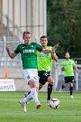 Zápas 4. kola první fotbalové ligy mezi týmy FK Jablonec a MFK Karviná se odehrál 11. srpna na stadionu Střelnice v Jablonci nad Nisou. Na snímku zleva Jan Chramosta a Grego Bence Kocsis.