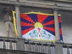 Tibetská vlajka v Českých Budějovicích.