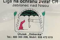 Liga na ochranu zvířat Jablonec nad Nisou, útulek Dášenka Lučany nad Nisou