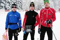 Vítězové středečního závodu kategorie mužů. Zleva Vojtěch Prášil (JBC), Jakub Gräf (Dukla), Martin Lopota (Dukla).